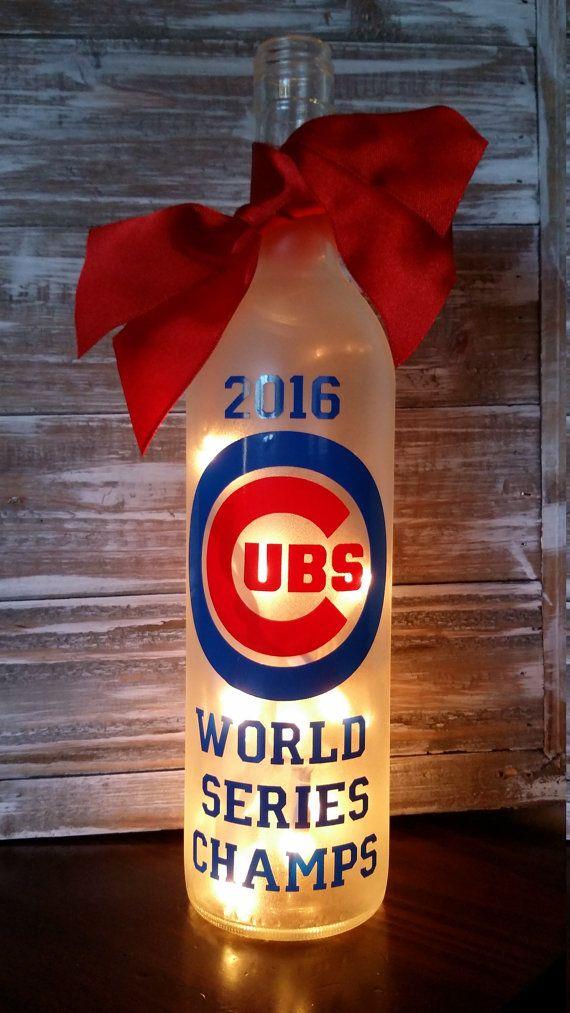 Chicago Cubs Lighted Wine Bottle/World by KarensWineSeller on Etsy