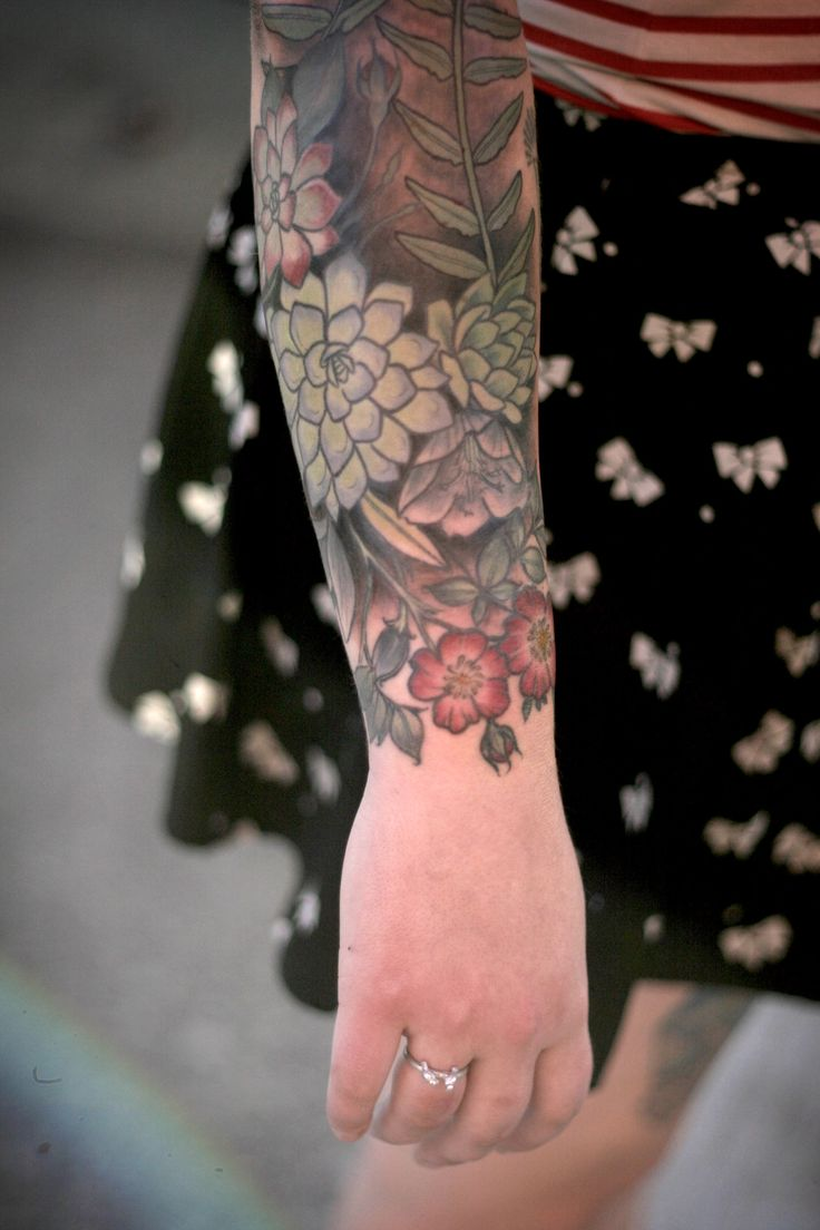 Succulents and wild roses by alice carrier at wonderland for Flower tattoos on lower arm
