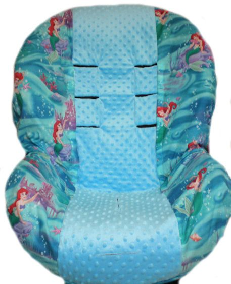 Velcro easy on and off Little Mermaid with Turquoise Minky Dot Center Toddler Car Seat Cover.   No Disassembling of Straps.. $52.99, via Etsy.