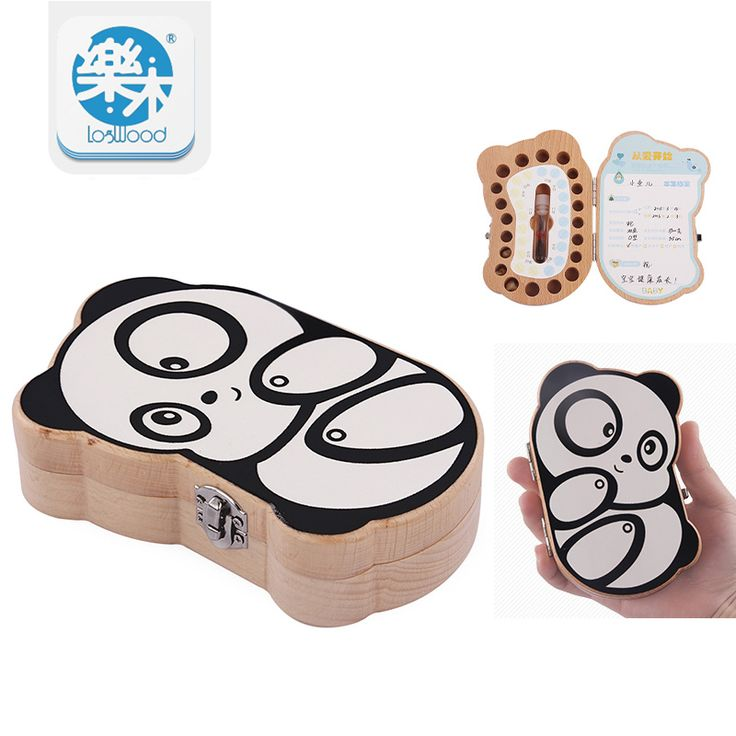 Baby teeth box save MILK TEETH organizer storage montessori Education wooden birthday gifts box baby born panda image