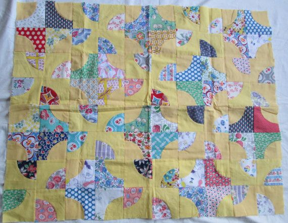 Quilt Top Vintage Feedsack Fabric  by Theoldwhitecupboard on Etsy, $58.50
