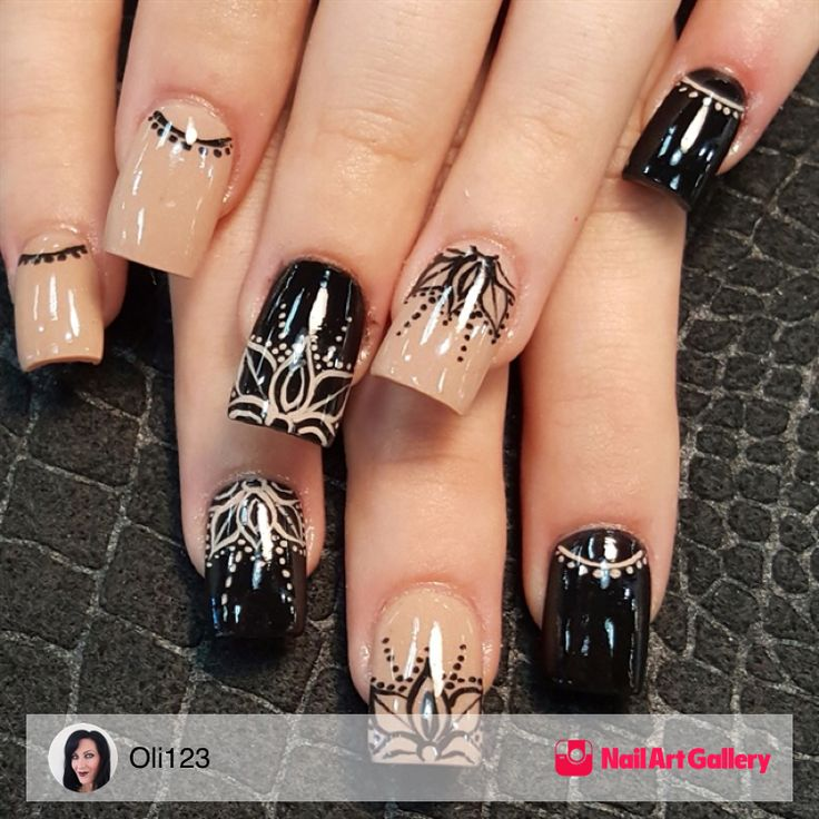 Nude And Black Mandala by Oli123 via Nail Art Gallery #nailartgallery #nailart #nails #handpainted