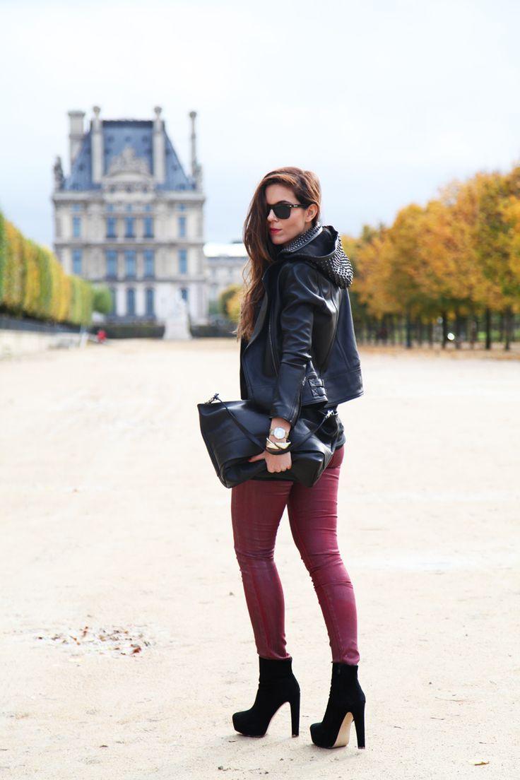 Black leather and burgundy skinnies in Paris