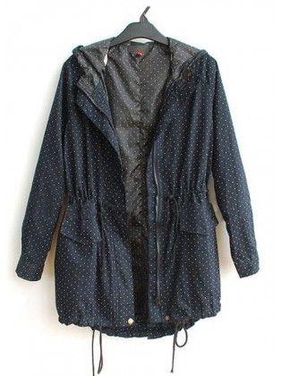 Drawstring Hooded Waist Navy Coat