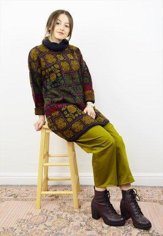 Vintage+90s+boho+tiled+print+roll+neck+jumper
