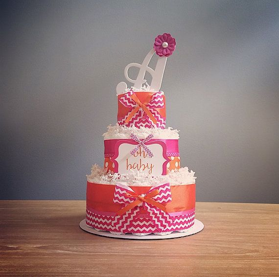 Pink & orange diaper cake with personalized by JennyKnickDesigns