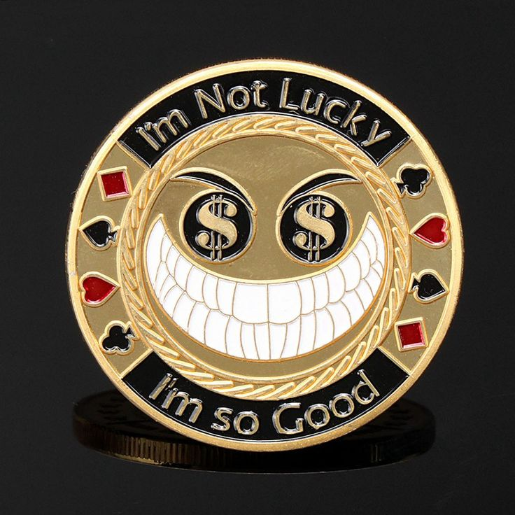 Metal Poker Card Guard Protector I'm Not Luck I Am So Good Gold Plated With Round Plastic Box Metal Craft Poker Chips Poker Game