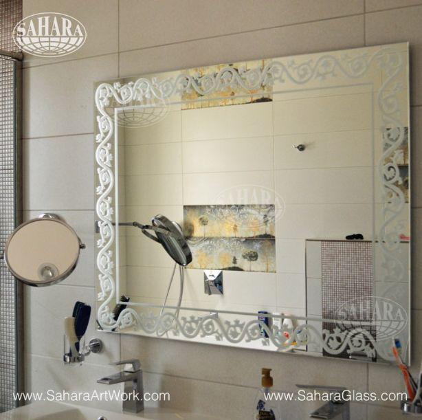 Bathroom Silver Mirror With Persian Back Sandblast And Light