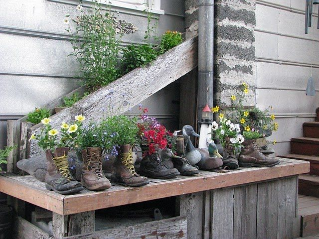 leather boots as planters.
