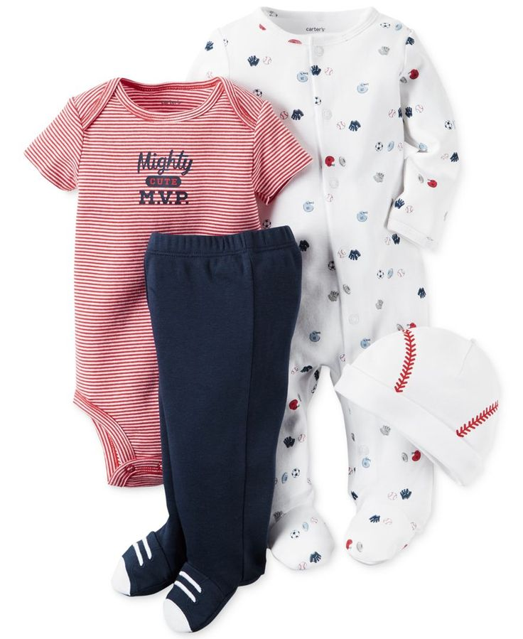 Carter's Baby Boys' 4-Pc. Little All-Star Take-Me-Home Hat, Bodysuit, Footed Pants & Footed Coverall Set
