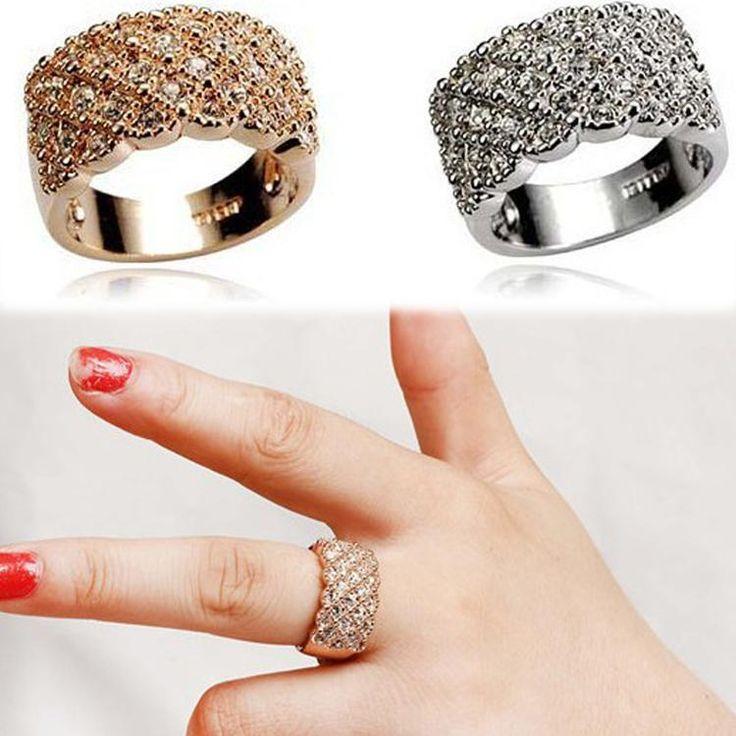 Luxury Korean Style Full Diamante Sparkling Rhinestone Female Big Ring Finger Ring Gold Silver RING-0229