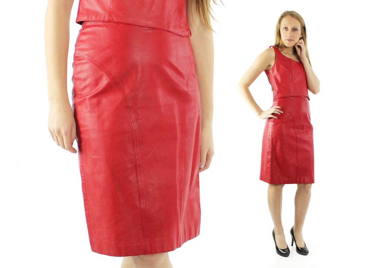$52, Vintage 80s Red Leather Skirt High Waisted Pencil Skirt Knee Length 1980s Biker Rocker Small S Pelle Cuir by ScarletFury on Etsy