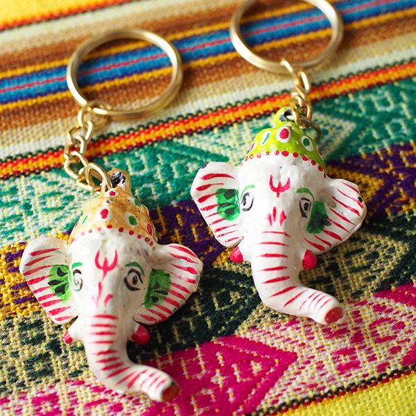 インド ガネーシャのキーホルダー(ペーパーマッシュ) - カラフルなアジアン雑貨 笑福Lotus(ワラフクロータス) | エスニック | ベトナム雑貨 | アフリカ雑貨 | 通販