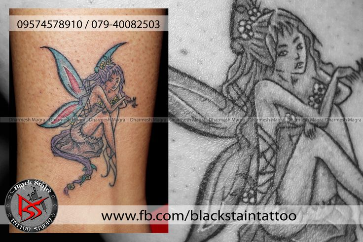 BEAUTIFULL ANGEL WITH BEAUTIFULL FEATHERS  DONE BY DHARMESH MAGRA OF BLACK STAIN TATTOO STUDIO
