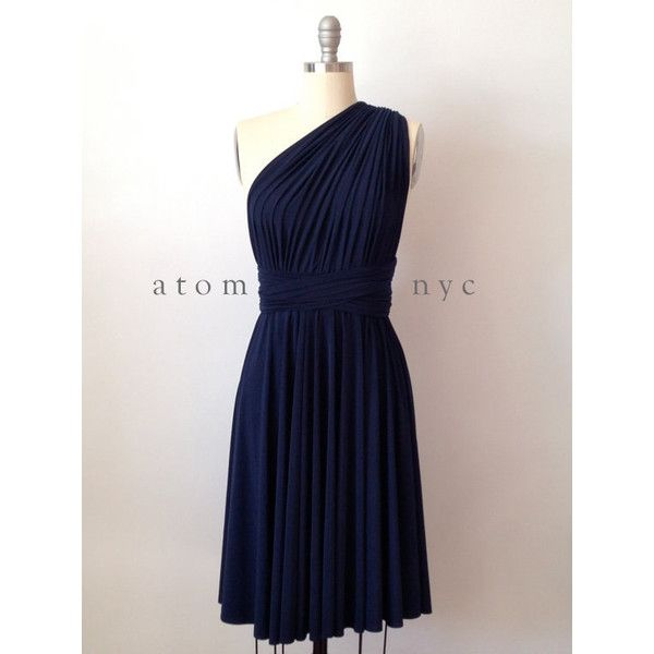 Navy Blue Short Infinity Dress Convertible Formal Multiway Wrap Dress... ($39) ❤ liked on Polyvore featuring dresses, dark olive, women's clothing, cocktail dresses, formal dresses, short evening dresses, navy blue bridesmaid dresses and short bridesmaid dresses