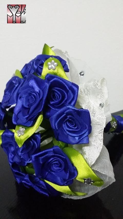 Királykék selyem rózsa csokor, Dekoráció, Esküvő, Otthon, lakberendezés, Dísz, Meska