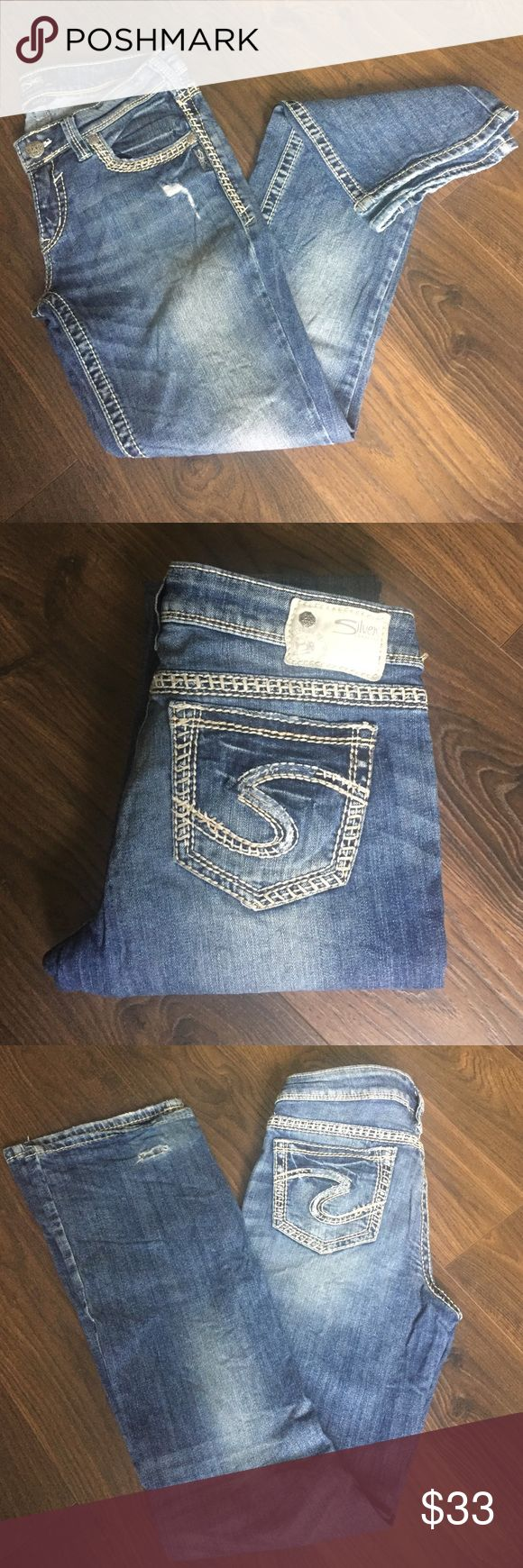 """Woman's silver jeans 29/33 29/33 gently used distressed silver jeans """"aiko"""" Silver Jeans Jeans Straight Leg"""