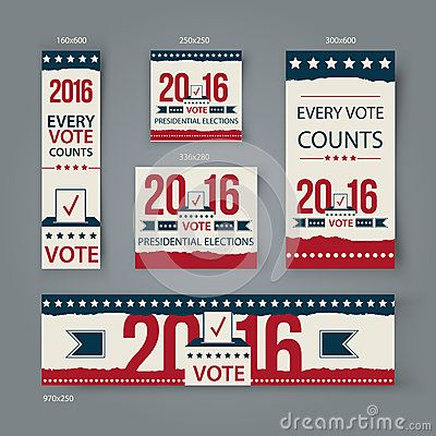 Voting Banners vector set design. US presidential election in 2016. Vote 2016 USA banners for website or social media