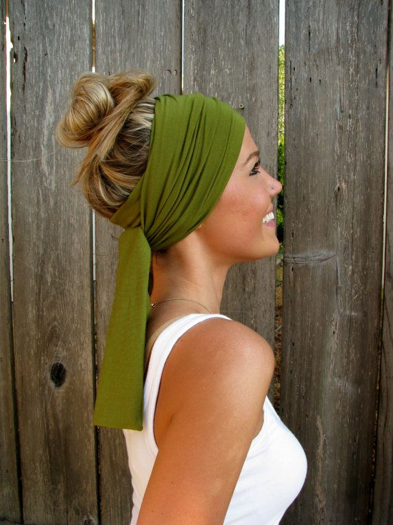 The Infinity Head Scarf In Moss Green Rayon Cotton by HillNTrees....My God I want this!