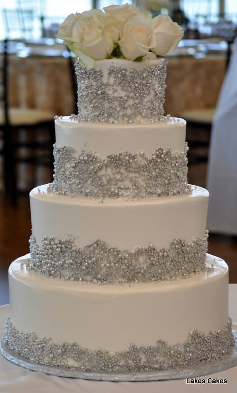 Buttercream iced wedding cake adorned with silver dragees @ Grosse Pointe War Memorial, Grosse Pointe, MI