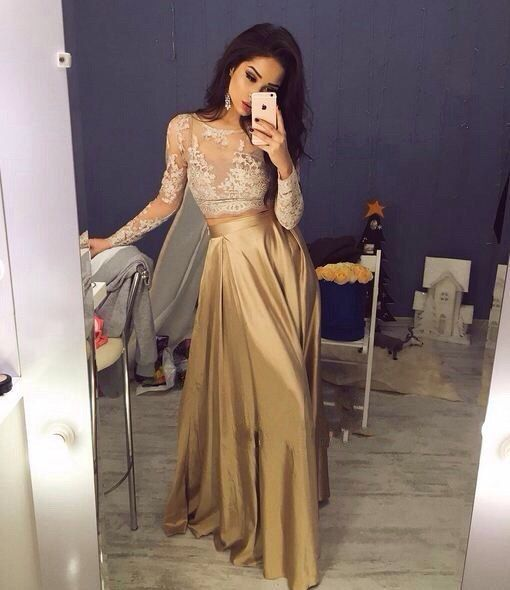 Champagne Long Sleeves Lace Prom Dress,Prom Dress 2016,See Through Lace Prom…