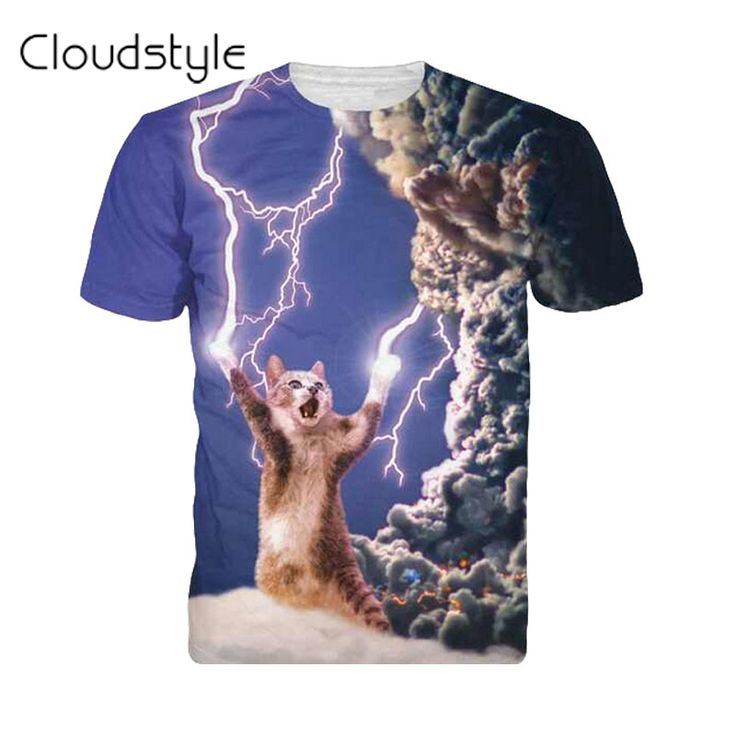 2017 New arrivals brand clothing 3D Printed Thundercat T-Shirt fearless kitty cat playing with lightning t shirts harajuku tees