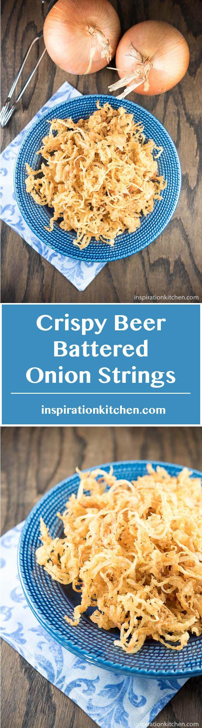 Crispy Beer Battered Onion Strings - inspirationkitchen.com