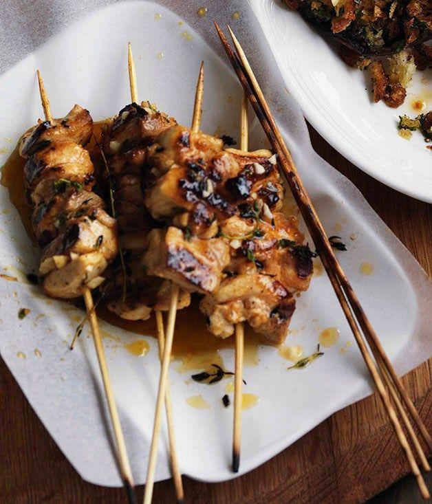 Garlic chicken pinchos - Gourmet Traveller