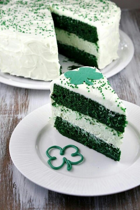 Shamrock cake. Just a few drops go green food coloring... Viola!