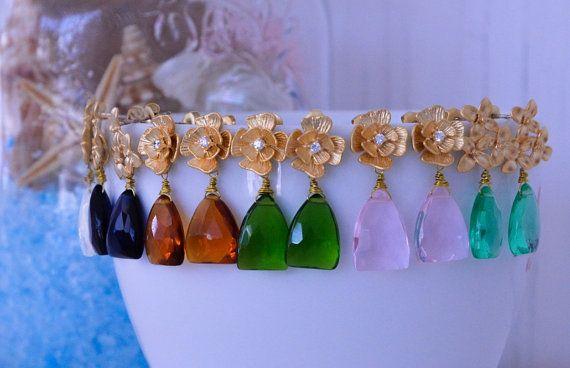 Timeless squared teardrops earrings Multicolor Quartz by StellinoJewels
