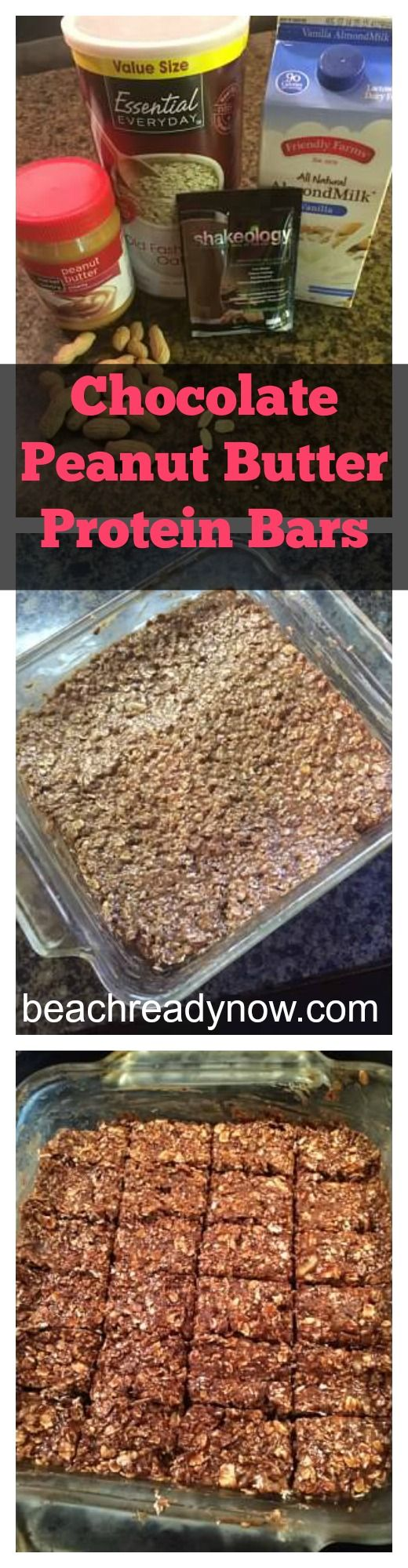 Homemade Chocolate Peanut Butter Protein Bars #21DayFIx friendly