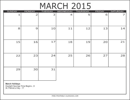 Download March 2015 Calendar to Print. Cute March 2015 Calendar Canada, USA, UK, Australia, Templates, Excel, Word, Pdf, Holiday in March 2015 Calendar.
