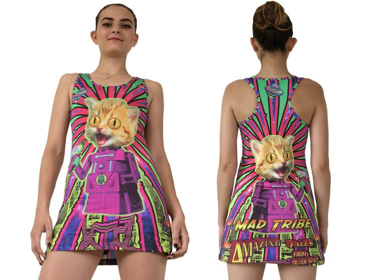 """Sublime Tank Girl : Amazing Tales The Space Tribe racerback mini-dress / long vest that will really grab people's attention. Slinky stretch polyester lycra fabric (82% polyester, 18% spandex) Printed using sublimation printing technology.This allows for extremely vibrant colors that will never fade away no matter how many times it gets washed, & results in an extremely soft """"feel"""" to the top for ultimate comfort. Artwork byMad Tribe"""
