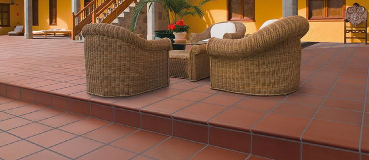 quarry tiles outside chairs