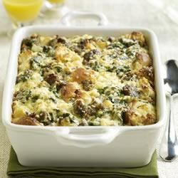 Sister Schuberts� Breakfast Bake Recipe - Need to make breakfast for a crowd? Dont worry! This substantial casserole of eggs, cheese, onion, spinach, sausage and Sister Schuberts Whole Wheat Yeast Dinner Rolls can be assembled the night before and baked the next morning.