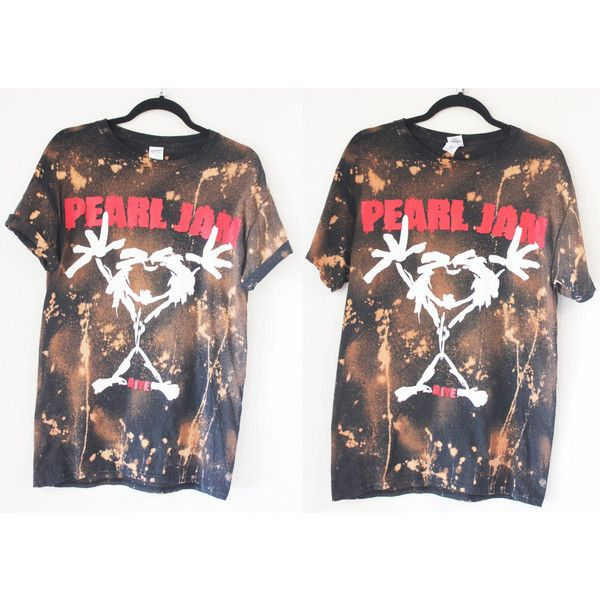 Pearl Jam Bleached/Distressed Band Tee S XL ($41) ❤ liked on Polyvore featuring tops, t-shirts, thin t shirts, ripped t shirt, destroyed t shirt, distressed t shirt and ripped shirt