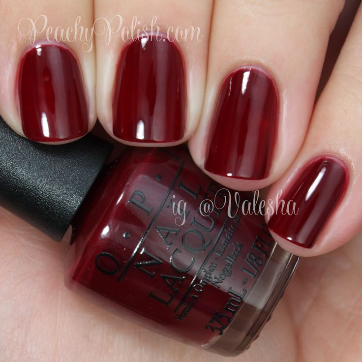 OPI: malaga wine.  Good formula...two coats for opacity.  Great deep, blood red.