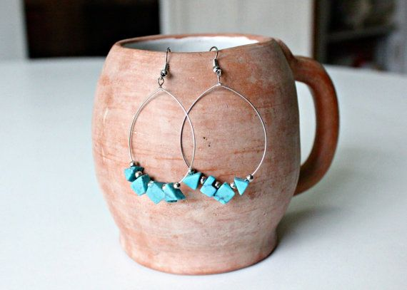 Turquoise Beaded Hoop Earrings by KusiPeru on Etsy, $9.00