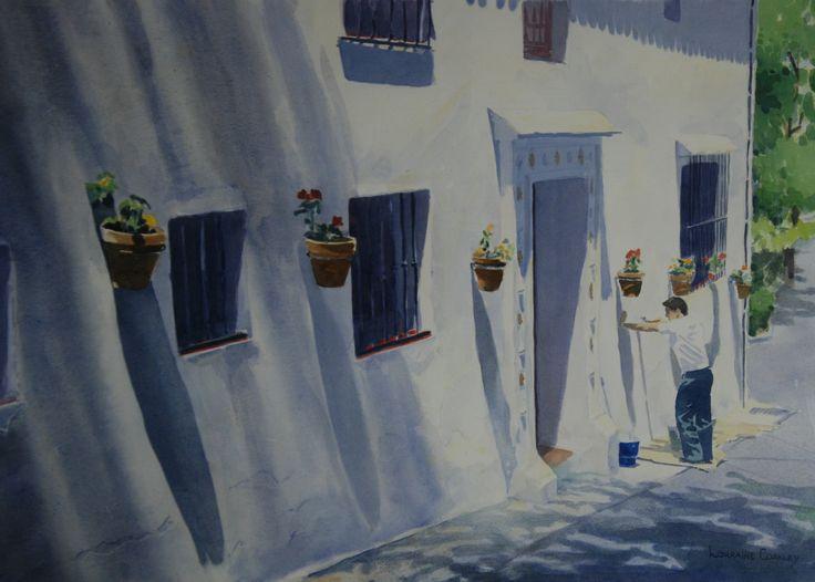 "Spanish White Washer Watercolor 26""x34"""
