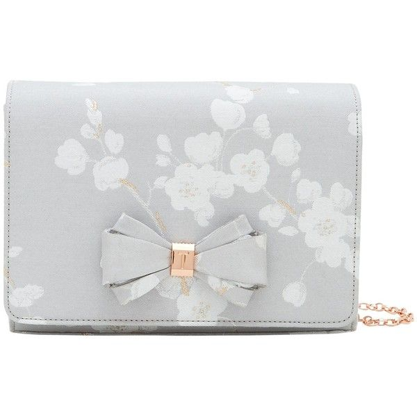 Ted Baker Tie The Knot Ulanna Oriental Blossom Clutch Bag, Light Grey (€81) ❤ liked on Polyvore featuring bags, handbags, clutches, hand bags, ted baker handbags, ted baker purse, evening purses and flower clutches