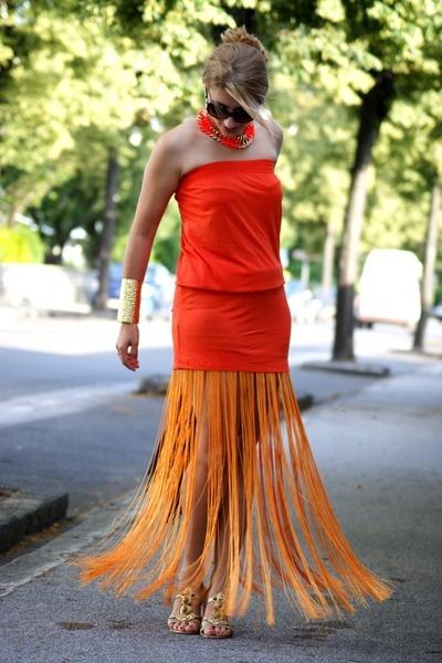 Orange all over: Dresses Black, Orange, Style Werden, Gowns, Besten Style, Mango, Necklaces, Diy, Bags
