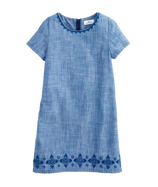 Girls Chambray Embroidered Shift Dress
