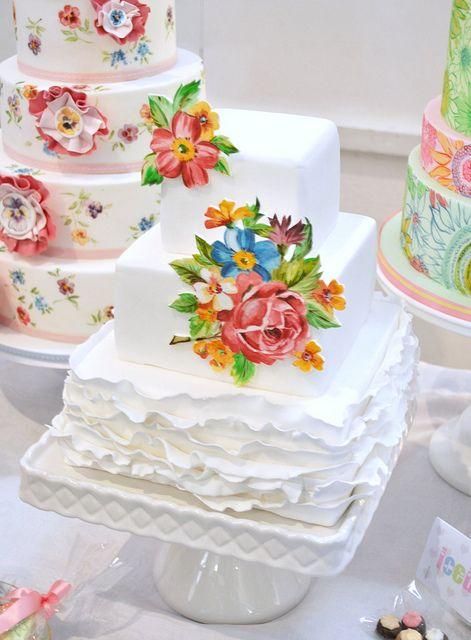 This cake looks like a vintage handkerchief