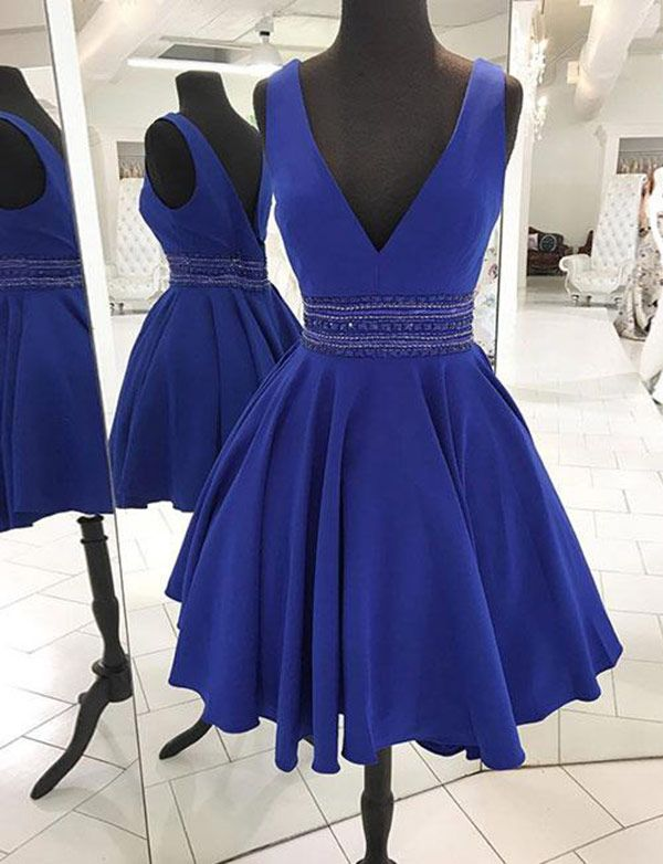 fbbf7ffc23 Stylish A-Line V Neck Royal Blue Satin Short Homecoming Dresses with  Beading