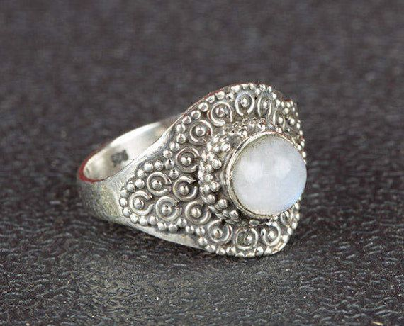 Moonstone Ring Blue Flash Moonstone Ring Sterling Silver
