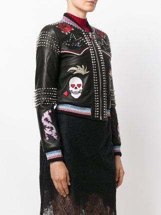 Philipp Plein studded skull patch jacket