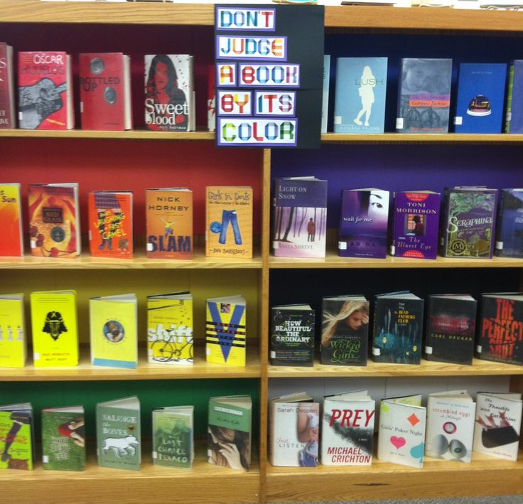 Don't judge a  book by its color- books arranged by color