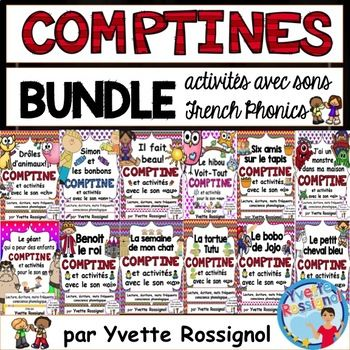 """Bundle complet pour la série """"Une comptine dans mon coeur"""" Complete bundle for 13 comptines from my collection """"Une comptine dans mon coeur"""" **You save more than 30% by buying this bundle :) You will have comptines and activities for the whole year!"""