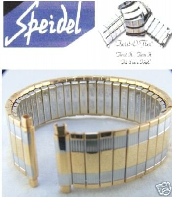 SPEIDEL See Band TWIST-O-FLEX Expansion Strech Gold coloration TWO TONE fits 18mm to 22mm - Bonus - 2 added Spring Bars incorporated
