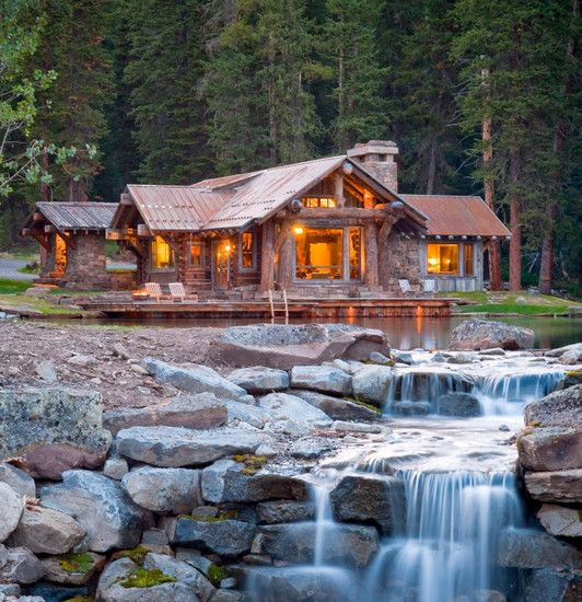 Amazing Concrete House Plan For A Rustic Forest Home In: Lovely Cabin In The Woods..love The Pond And Small